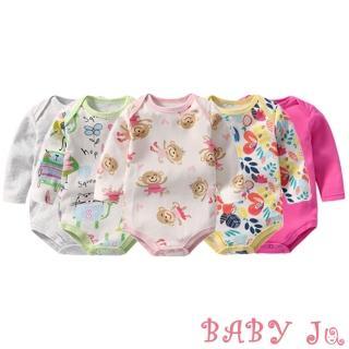 【BABY Ju 寶貝啾】可愛長袖包屁衣五件組(女寶寶款)
