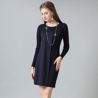 【Stillthick】圓領拼接布料針織裙(2色任選)