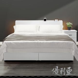 【優利亞】日式文青風雙側崁燈 雙人五尺床頭片+床座(白色)