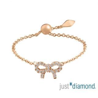 【Just Diamond】愛相繫系列 18K玫瑰金 鑽石戒指-蝴蝶結(鍊戒)