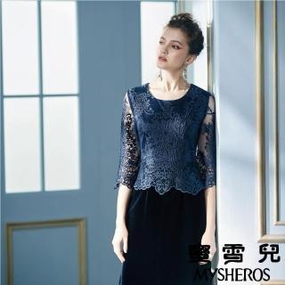 【mysheros 蜜雪兒】蕾絲絨裙剪接洋裝(藍)