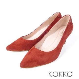 【KOKKO集團】曼哈頓日落尖頭真皮高跟鞋(慾望紅)