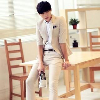 【米蘭精品】亞麻西裝外套(時尚休閒韓版七分袖薄款男外套68q38)