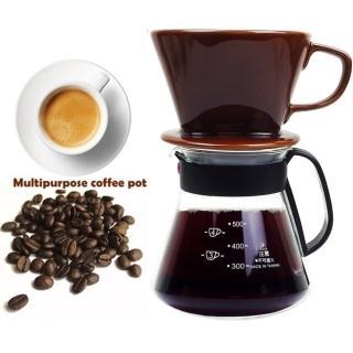 【嚴選咖啡沖泡組】大號陶瓷濾杯+台玻600ml咖啡壺塑把/泡咖啡/泡茶濾杯/手沖咖啡濾器(2入隨機出貨)