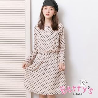 【betty's 貝蒂思】氣質蝴蝶結印花雪紡洋裝(淺桔)