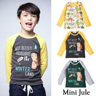 【Mini Jule】男童 上衣 滿版恐龍/旅行松鼠印花長袖上衣(共3款)