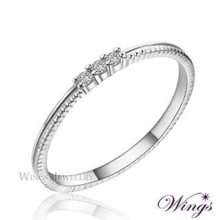 【WINGS】星空 纖細美麗的優雅 精鍍白K金戒指 尾戒 聖誕(擬真鑽 鑽戒 尾戒 對戒)