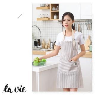 【La Vie】谷家☆韓版條紋糖果色掛脖式圍裙(四色可選)
