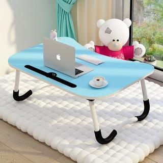 【好評加碼】簡約攜帶式床上電腦桌/摺疊桌 折疊桌 NB桌 小桌子 和室桌 邊桌(附卡槽設計/杯架)