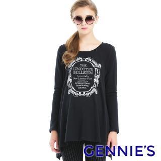 【Gennies 奇妮】圖印棉質感不規則傘狀長版上衣(黑T3A12)