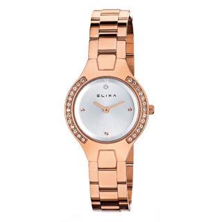 【ELIXA】BEAUTY晶鑽錶面簡約刻度 金屬玫瑰金錶帶29 mm(E061-L186)