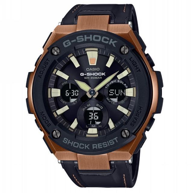 【CASIO 卡西歐】G-SHOCK G-STEEL光動能系列/52mm/古銅金x黑皮革錶帶(GST-S120L-1A)