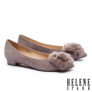 【HELENE SPARK】華麗獺兔毛方鑽飾羊麂皮尖頭低跟鞋(可可)