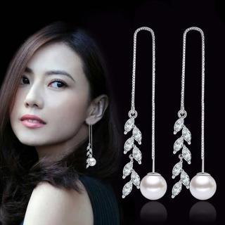 【I-SHINE】落葉紛飛-韓國氣質垂墜樹葉晶鑽銀耳線耳環(落葉紛飛)