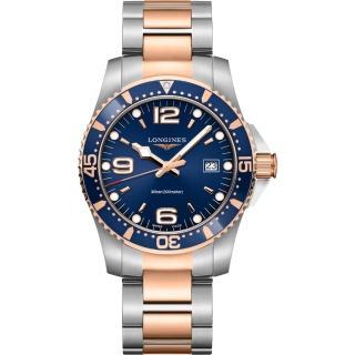 【LONGINES 浪琴】深海征服者300米潛水石英錶-藍x雙色版/41mm(L37403987)