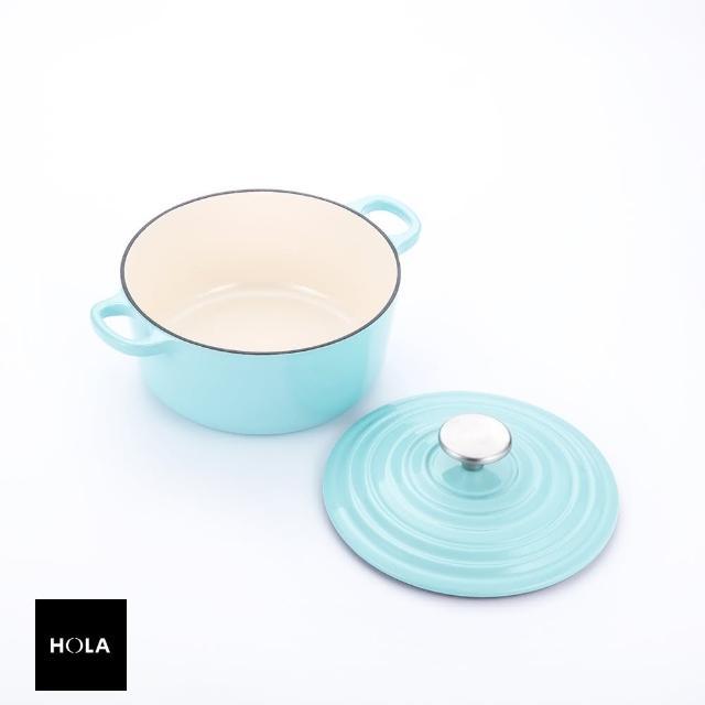 【HOLA】HOLA Amour亞莫鑄鐵琺瑯湯鍋20cm-湖水綠
