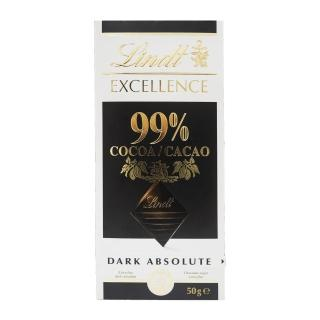 【Lindt 瑞士蓮】極醇系列99%巧克力片 50g(黑巧克力)