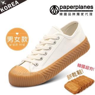 【Paperplanes】韓國空運/版型偏小。男女款帆布休閒餅乾鞋(7-507大白/現+預)
