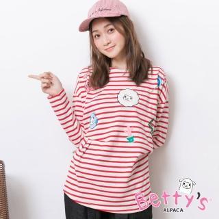 【betty's 貝蒂思】圓領條紋可愛印花T-shirt(紅色)