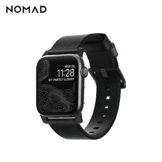 【美國NOMAD】美國NOMADxHORWEEN Apple Watch專用質樸黑皮革錶帶-摩登黑(Watch 錶帶)