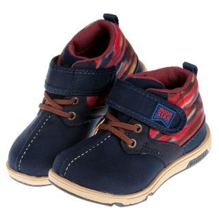 【布布童鞋】Moonstar日本HI系列深藍色絨布兒童休閒機能鞋(I8W085B)