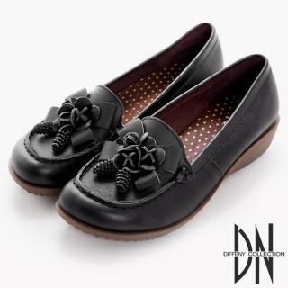 【DN】典雅品味 簡約質感牛皮休閒鞋(黑)