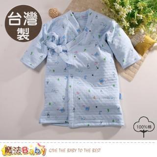 【魔法Baby】嬰兒長袍 台灣製三層棉厚保暖純棉護手長睡袍(b0101)