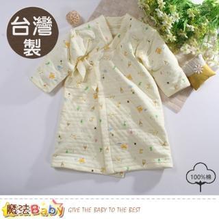 【魔法Baby】嬰兒長袍 台灣製三層棉厚保暖純棉護手長睡袍(b0102)