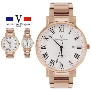 【Valentino Coupeau】范倫鐵諾 古柏 優雅羅馬數字不鏽鋼帶錶(兩款)