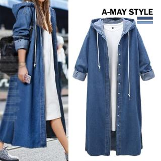 【Amay Style 艾美時尚】率性長版牛仔連帽外套(兩色.預購)