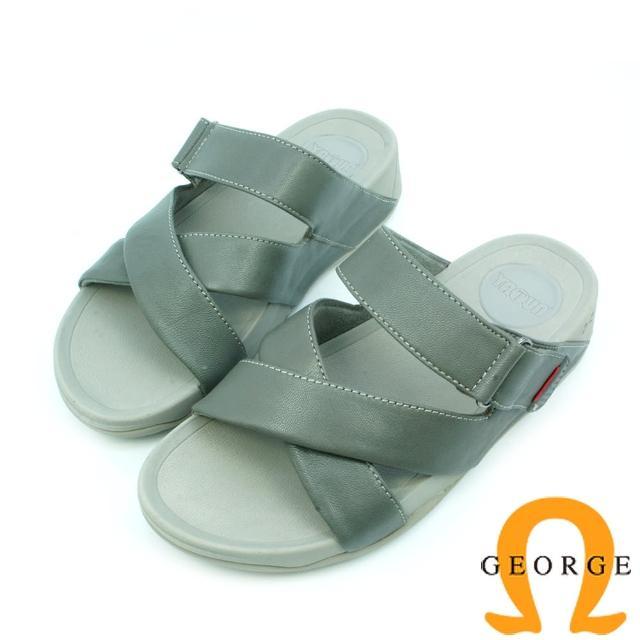 【GEORGE 喬治皮鞋】休憩系列 真皮交叉編織涼鞋拖鞋-灰