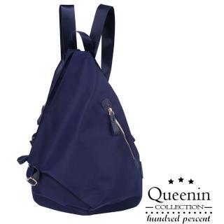 【DF Queenin】日系簡約水滴形雙功能休閒防盜後背包-共2色