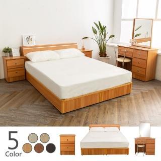 【時尚屋】納特床箱型5件房間組-床箱+床底+床頭櫃2個+床墊+鏡台組(五色可選 臥室系列)