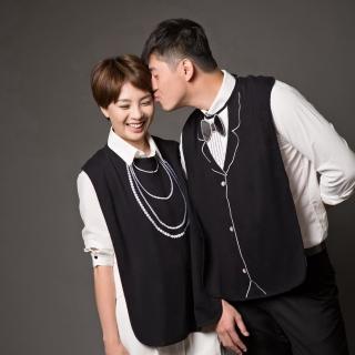 【Frenchie Mini Couture】黑色珍珠項鍊成人防水圍兜禮盒 銀髮/高齡/老人/樂齡/照護(單件)