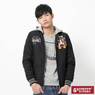 【5th STREET】男學院配色長袖外套-黑色