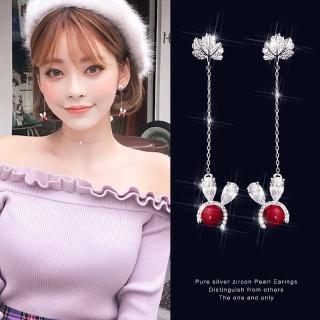 【梨花HaNA】韓國925銀紅色幸運兔耳朵長水鑽耳環
