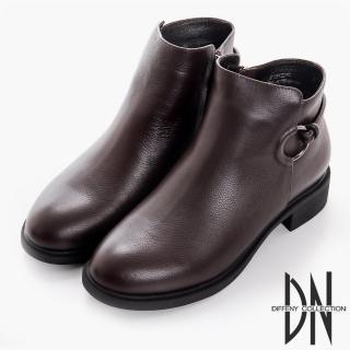 【DN】漫步秋冬 百搭牛皮拉環造型短靴(深咖)