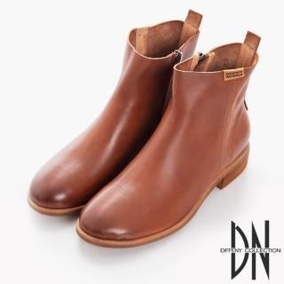 【DN】簡約百搭 率性擦色2WAY牛皮短靴(咖)