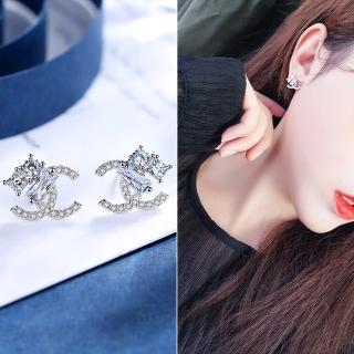 【梨花HaNA】韓國925銀針小香風雙C字方鑽點綴耳環