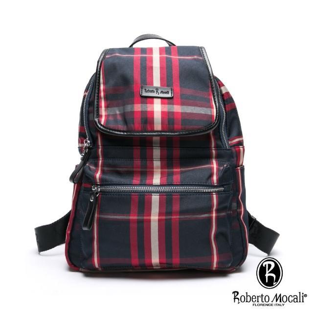 【Roberto Mocali】諾貝兔蘇格蘭時尚風潮配真皮掀蓋開口後背包