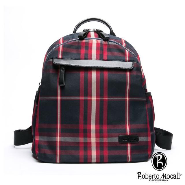 【Roberto Mocali】諾貝兔蘇格蘭配真皮輕旅百搭後背包