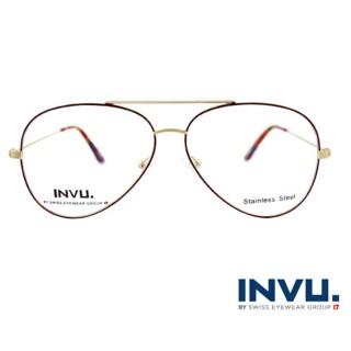 【【INVU】瑞士文雅質感細褐飛行員框光學眼鏡(白金/夕陽紅)】B3902A