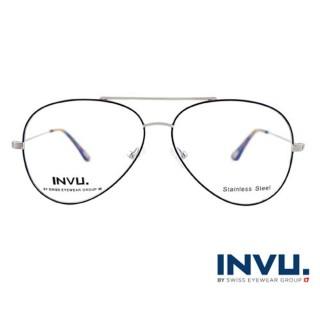 【【INVU】瑞士文雅質感細黑飛行員框光學眼鏡(白銀/秋彩)】B3902B