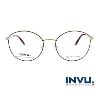 【【INVU】瑞士文雅質感貓眼細黑框光學眼鏡(白金/焰黑)】B3905C