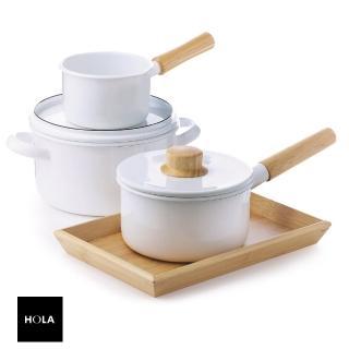 【HOLA】琺瑯單柄調理鍋 16cm 1L 純白 木柄 不吃色 不染色 不挑爐 輕巧 附蓋