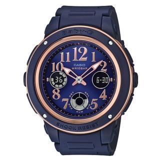 【CASIO 卡西歐】BABY G 優雅秋風雙顯女錶 樹脂錶帶 海軍藍X玫瑰金 防水100米 世界時間(BGA-150PG-2B2)