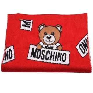 【MOSCHINO】小熊玩偶圖案造型羊毛針織圍巾(紅30571-M1856-007)