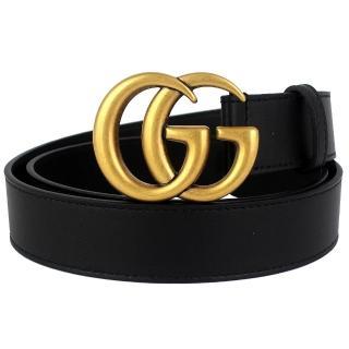 【GUCCI 古馳】復古雙G扣頭真皮皮帶(黑/80cm)