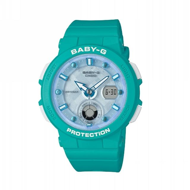 【CASIO 卡西歐】BABY-G 海洋風格系列/霓虹照明/41mm/藍(BGA-250-2A)