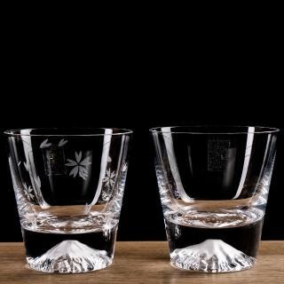【田島硝子】日本手工吹製富士山威士忌&櫻花杯組(TG15-015-R+TG16-015-RS)